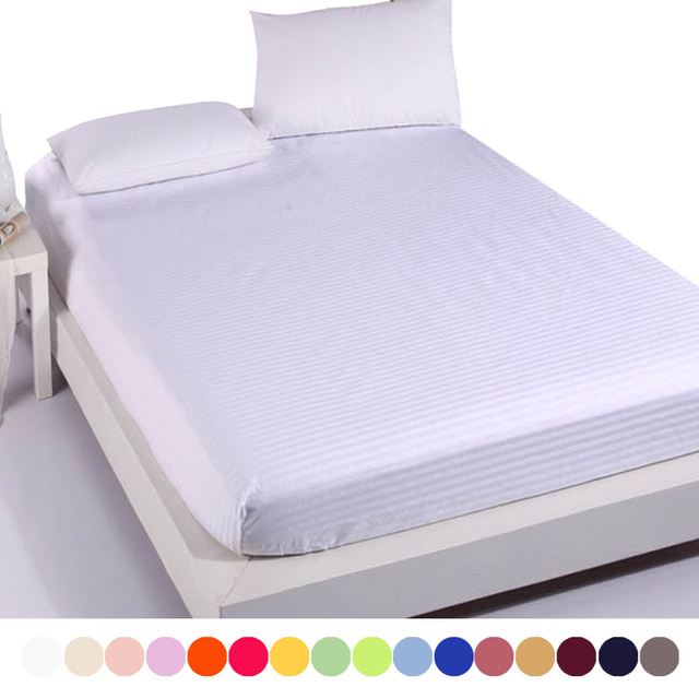 Elegant Cotton Satin Hotel Bed Sheet,19 Solid Color Fitted Sheet,Double Single Bed  Sheets