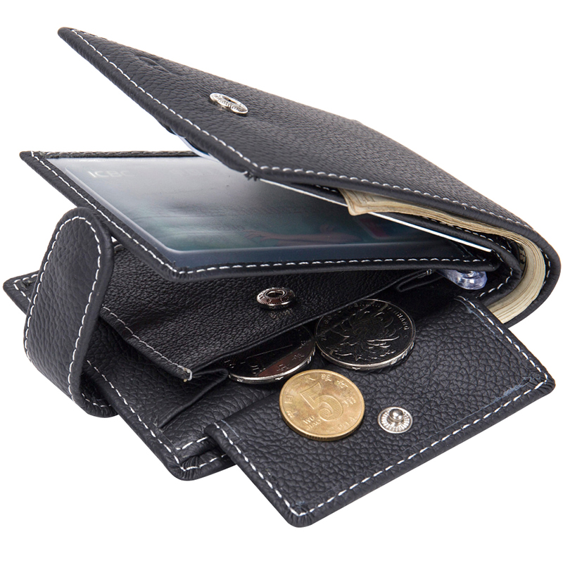 Genuine Leather Mens Wallet Dollar Price Horizontal Lichee Pattern Coins Purse Hasp Short Money Bag Bifold Walet Male Carteira