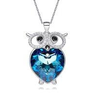 HeeZen Crystals from Swarovski Necklace Women Necklaces & Pendants Fashion Jewelry Blue / Purple Heart Owl Austrian Rhinestone