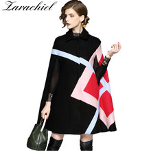 New 2019 Fashion Women Winter Jacket Geometric Pattern Batwi