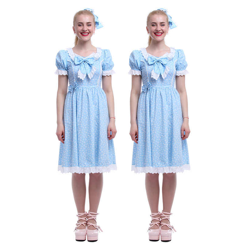 Rolecos 2018 New Arrival Sweet Dress Blue Movie The Shining Twins Women Cosplay