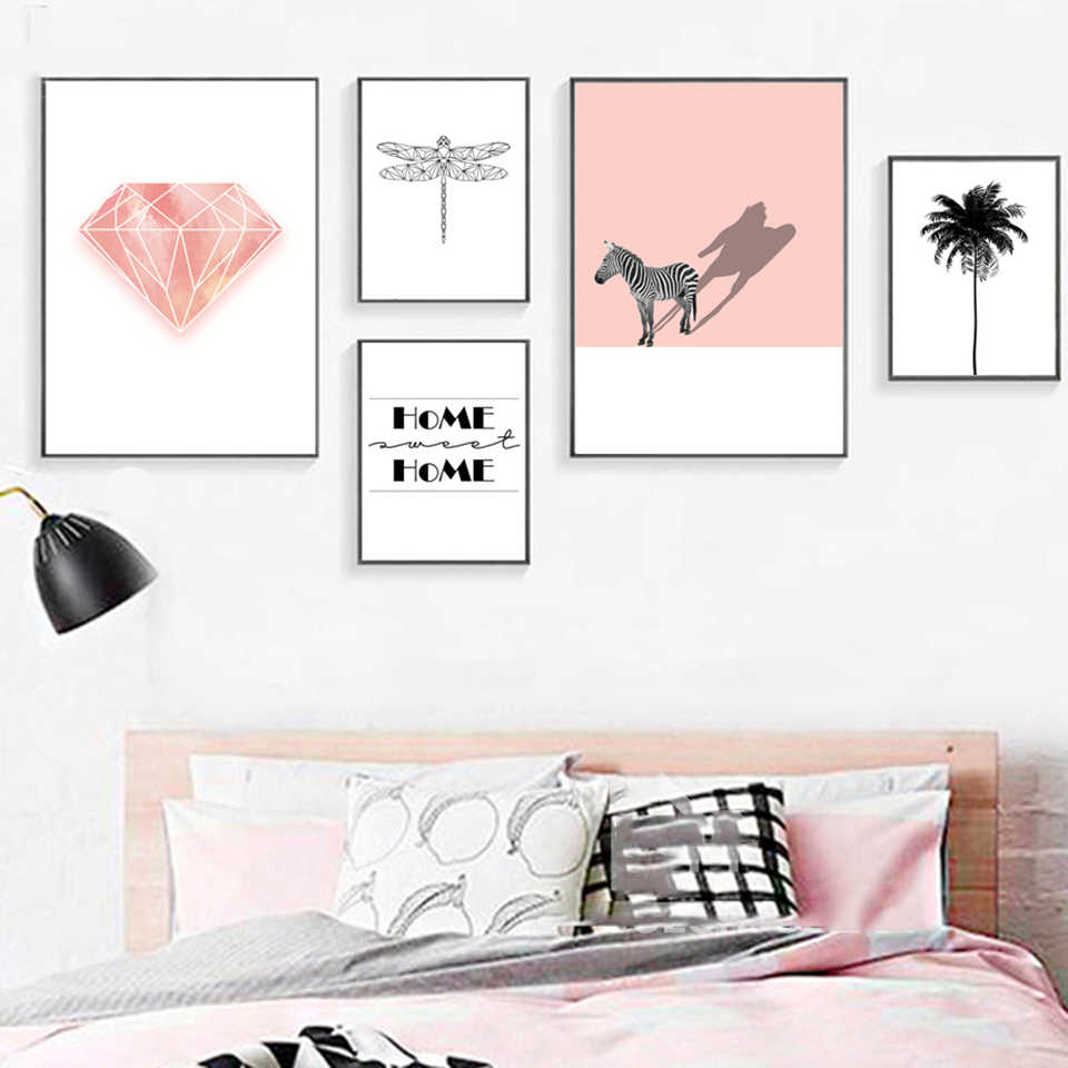 Nordic Prints Palm Pictures Poster Home Animal Zebra Modular Wall Art Pink Diamonds Painting Canvas Living Room Decoration