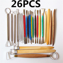26 PCS clay pottery DIY oil figurine modelling sculpture Clay carved wooden knife tools