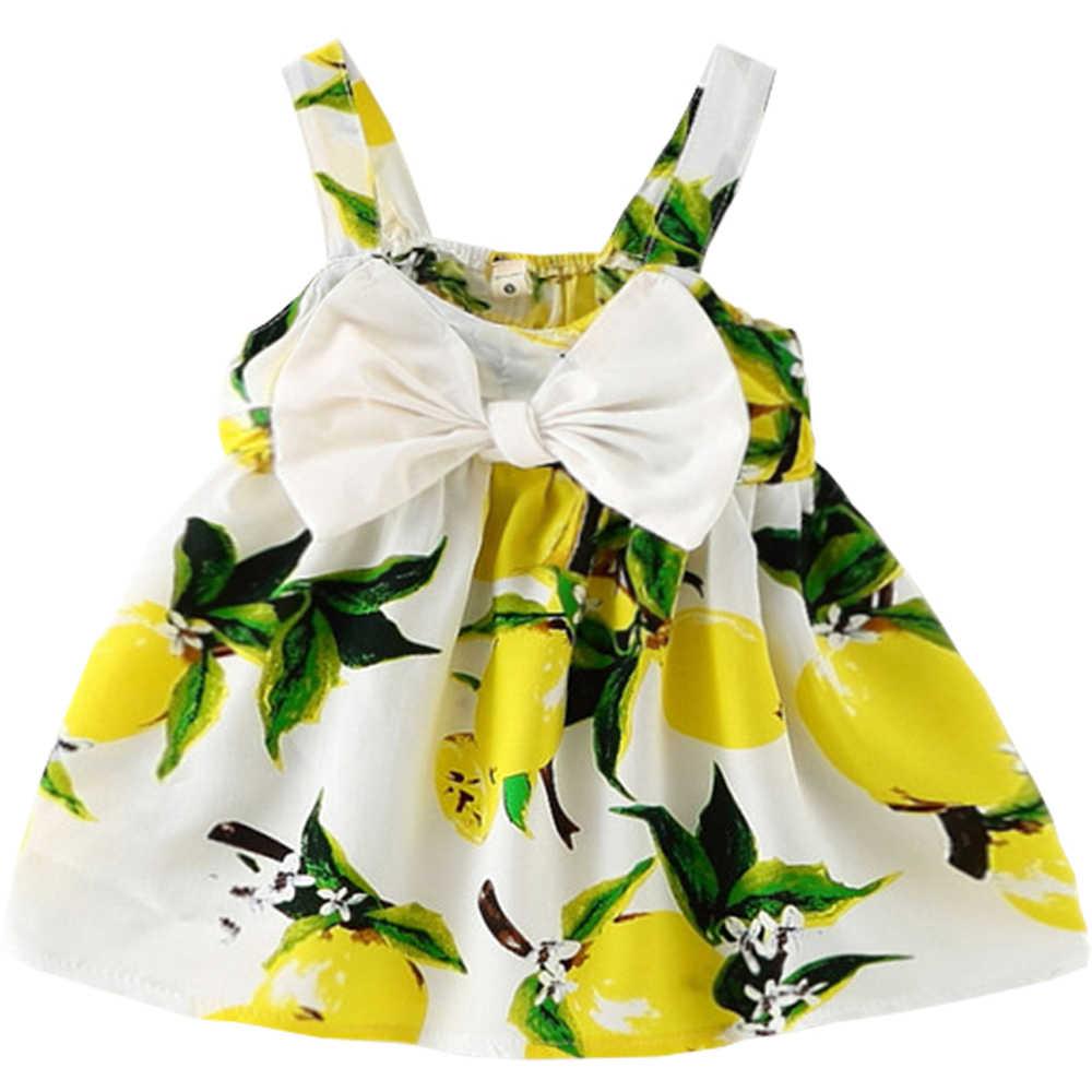 Meninas do bebê Roupas Sem Mangas 2019 fruto Impressão Das Crianças Vestidos de Algodão Meninas Crianças Vestido Da Menina Do Bebê vestidos de Verão para meninas