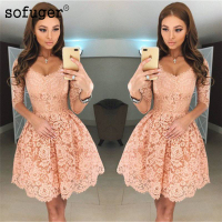 Peach 2018 Homecoming Dresses A line V neck Half Sleeves Short Mini Lace Elegant Cocktail Dresses