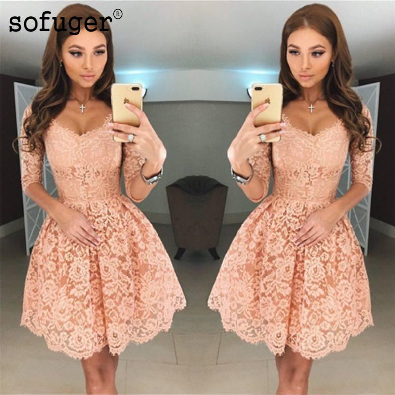 Peach 2019 Homecoming Dresses A-line V-neck Half Sleeves Short Mini Lace Elegant Cocktail Dresses