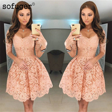 Peach 2019 Homecoming Dresses A-line V-neck Half Sleeves Short Mini Lace Elegant Cocktail