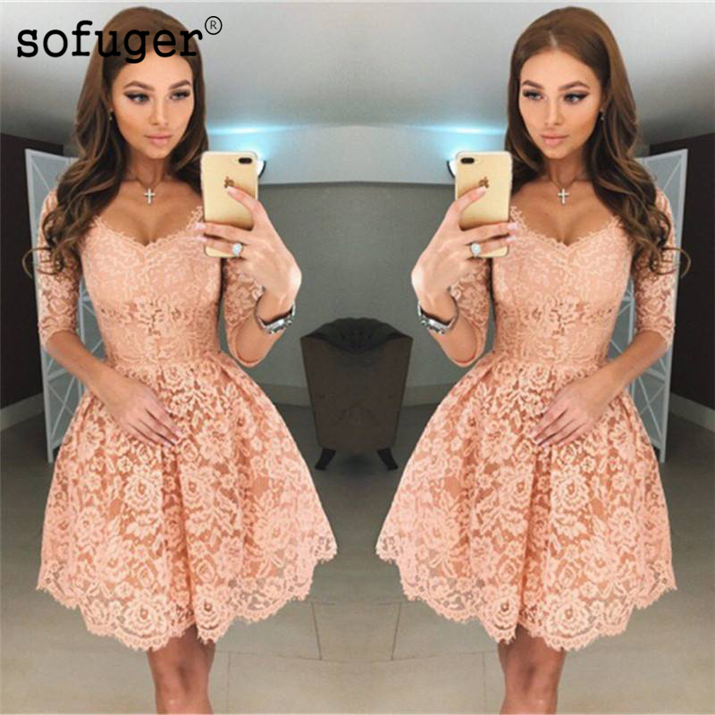 Peach 2019 Homecoming   Dresses   A-line V-neck Half Sleeves Short Mini Lace Elegant   Cocktail     Dresses