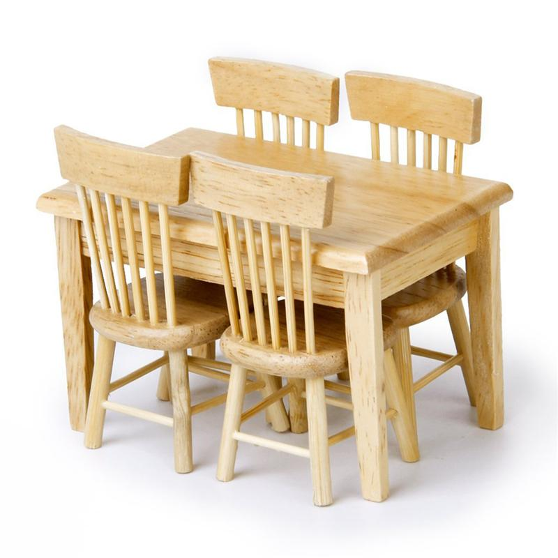 5pcs/set 1/12 Dollhouse Miniature Dining Table Chair Wooden Furniture Set For Children Toys long shape american country design wooden philippine dining table set