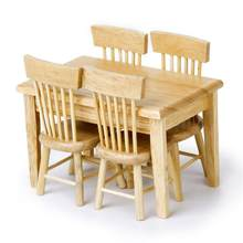 5pcs/set 1/12 Dollhouse Miniature Dining Table Chair Wooden Furniture Set For Children Toys(China)