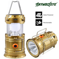 High Quality Rechargeable Solar Panel Camping Lantern LED Outdoor Tent Hanging Lights Lamp