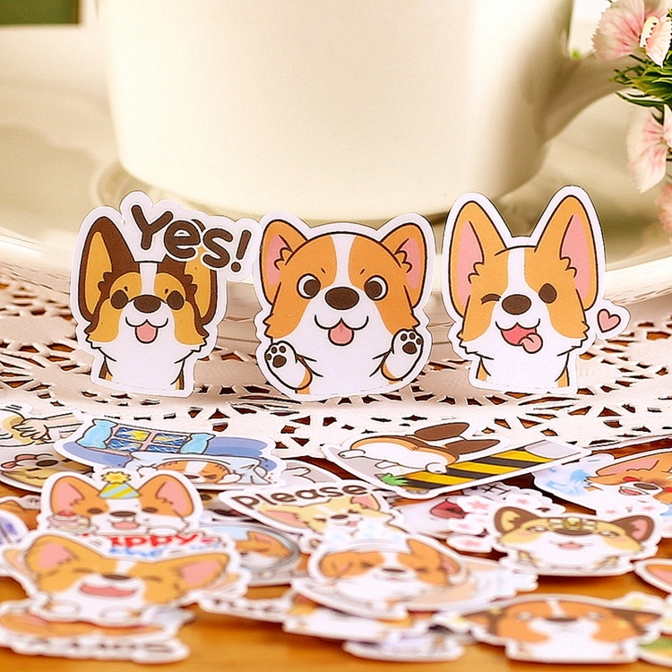 40pcs Self-adhesive Cute Corgi Dog Scrapbooking Fruits DIY Craft Sticker Pack