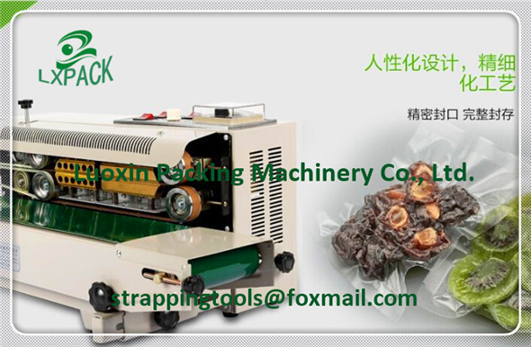 LX-PACK Automatic continuous Band Sealer Heat plastic bag gas Sealer sealing machine suitable for plastic bag and aluminum bag design fee for plastic bag usd50