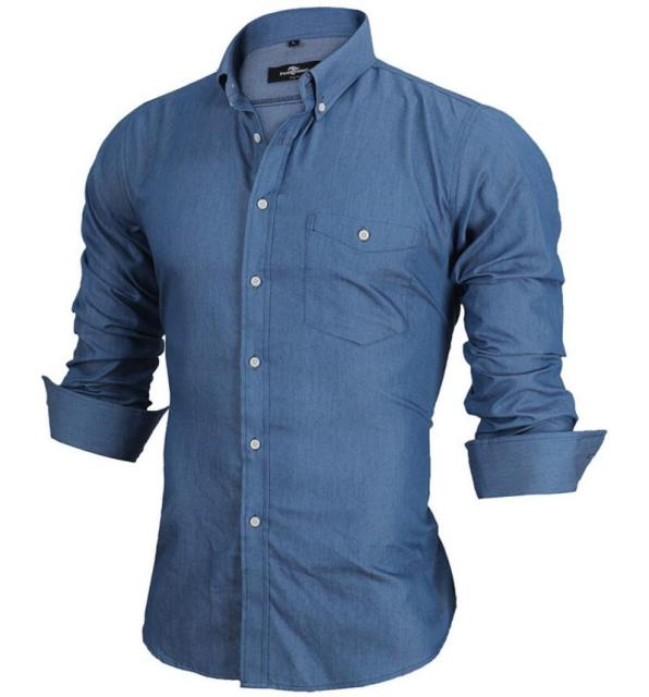 d754e41d7b7 Long Sleeve Denim Shirts Men Casual Shirt Fashion Slim Mens Jeans Shirts  Brand Camsia Masculine EU