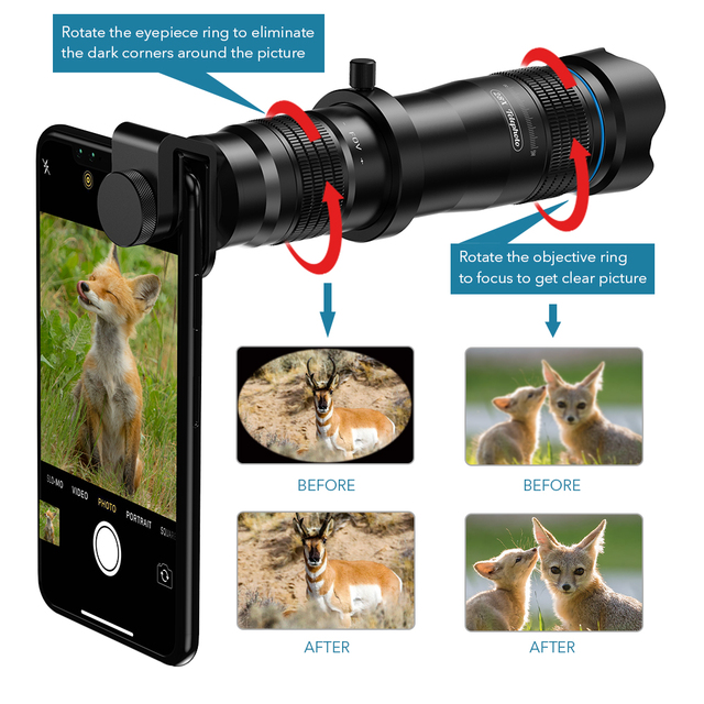 APEXEL Optic phone camera lens HD 28X metal telescope lens monocular with mini selfie tripod for iPhone 78 Xiaomi all Smartphone 2