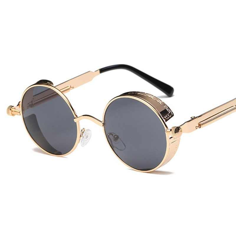e1cdbb695da Metal Round Steampunk Sunglasses Men Women Fashion Glasses Brand Designer  Retro Frame Vintage Sunglasses High Quality