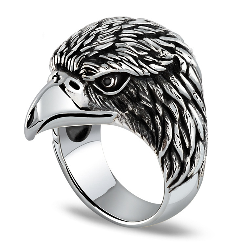 925 Sterling Silver Retro Men Male Animal Eagle Ring Thai Silver Fine Jewelry Gift Finger Ring CH042941 retro style eagle claw shape alloy women s finger ring