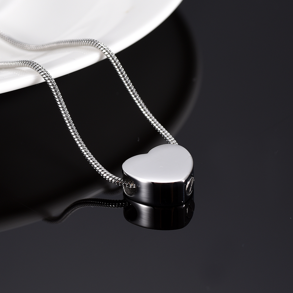 IJD9942 Cheap Price Wholesale 316L Stainless Steel Blank Slider Heart Cremation Urn Charm Necklace Hold Memorial