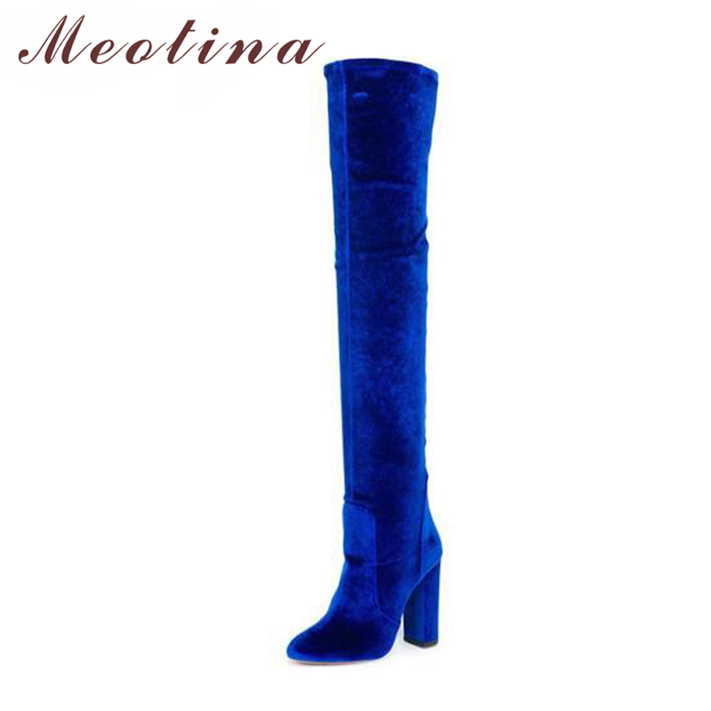 Meotina Over Knee Boots Women Winter Boots Velvet High Heel Thigh High Boots Autumn Zipper Fashion Ladies Stretch Shoe Blue Red lynskey fashion black blue red women thigh high boots high heel velvet over the knee boots stretch boots long shoes
