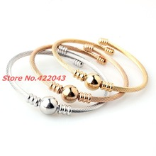 Charming Style 3pc set Silver Gold Rose Gold Mix 3mm Twisted Cuff Bangle 316L Stainless Steel