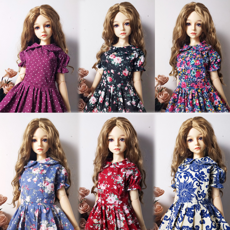 T02-X548-1 Blyth Doll Clothes 1/3 1/4 Bjd 1/6 Dolls Accessories Cotton Classic Floral Dress 1pcs