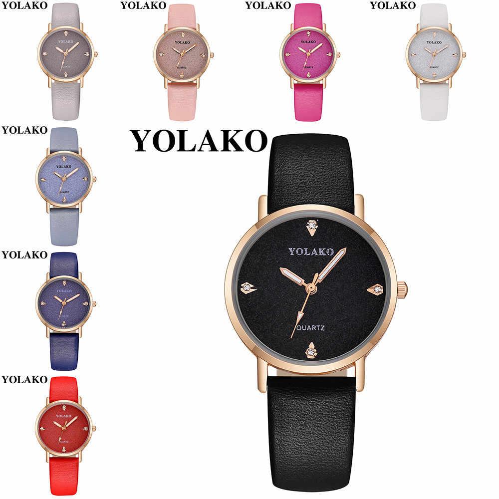 YOLAKO אופנה מותג נשים שעון קוורץ רצועת עור נירוסטה מקרה אנלוגי שעוני יד עמיד למים נשים שעונים Reloj Mujer