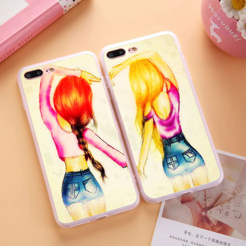 Unlimited Infinity Two Girls Best Friends Case Apple iPhone 4S Red Heart BFF Cover 4 4G  -  Cathy(US store Gift Phone Co., Ltd.)