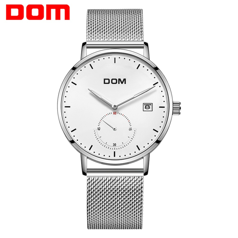 DOM Mens Watches Top Brand Luxury Fashion Casual Silver Steel Waterproof Quartz Watch relogio masculino for Gift M-307D-7M все цены