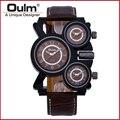 OULM watch men Sports Watch Multiple Time Zone quartz-watch military Business watches men's wristwatch
