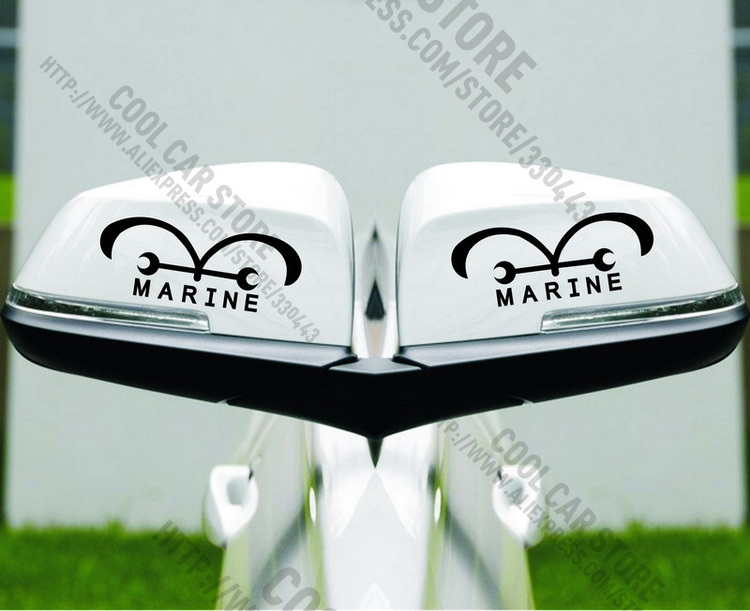 1 Pair ONE PIECES Naval flags marked posted MARINE rearview mirrors For Golf MK7 Mazda CX 5 Jetta MK6 all cars