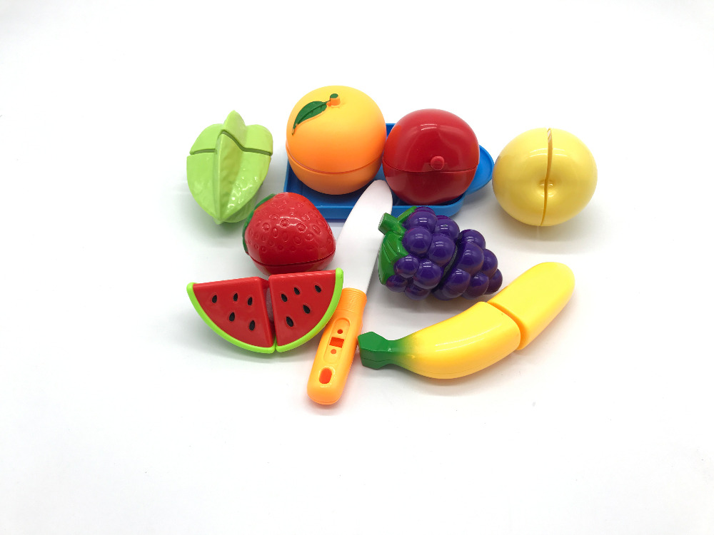 10pcs/lot Plastic Kitchen Food Fruit Vegetable Cutting Kids Pretend Play Educational Toy Children Cook Cosplay