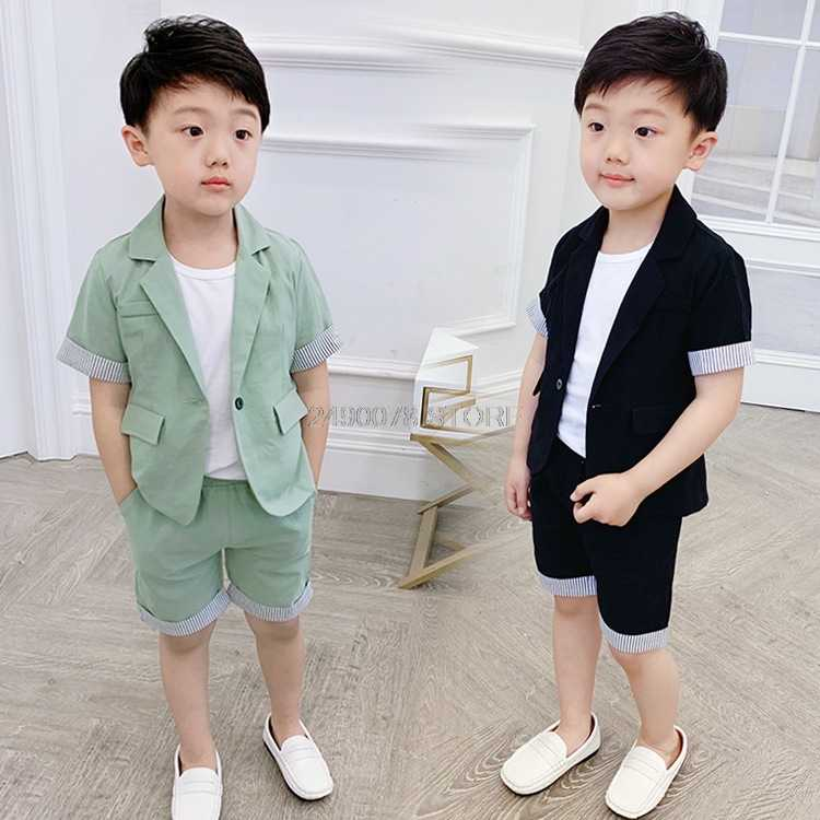 Комплект летней одежды для мальчиков; детский деловой блейзер + шорты; платье для девочек на свадьбу и День рождения; Детский костюм для танцев на фортепиано и на выпускной