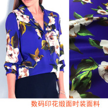 Advanced digital printing satin Womens fashion printed cloth Europe and the United States with same pattern