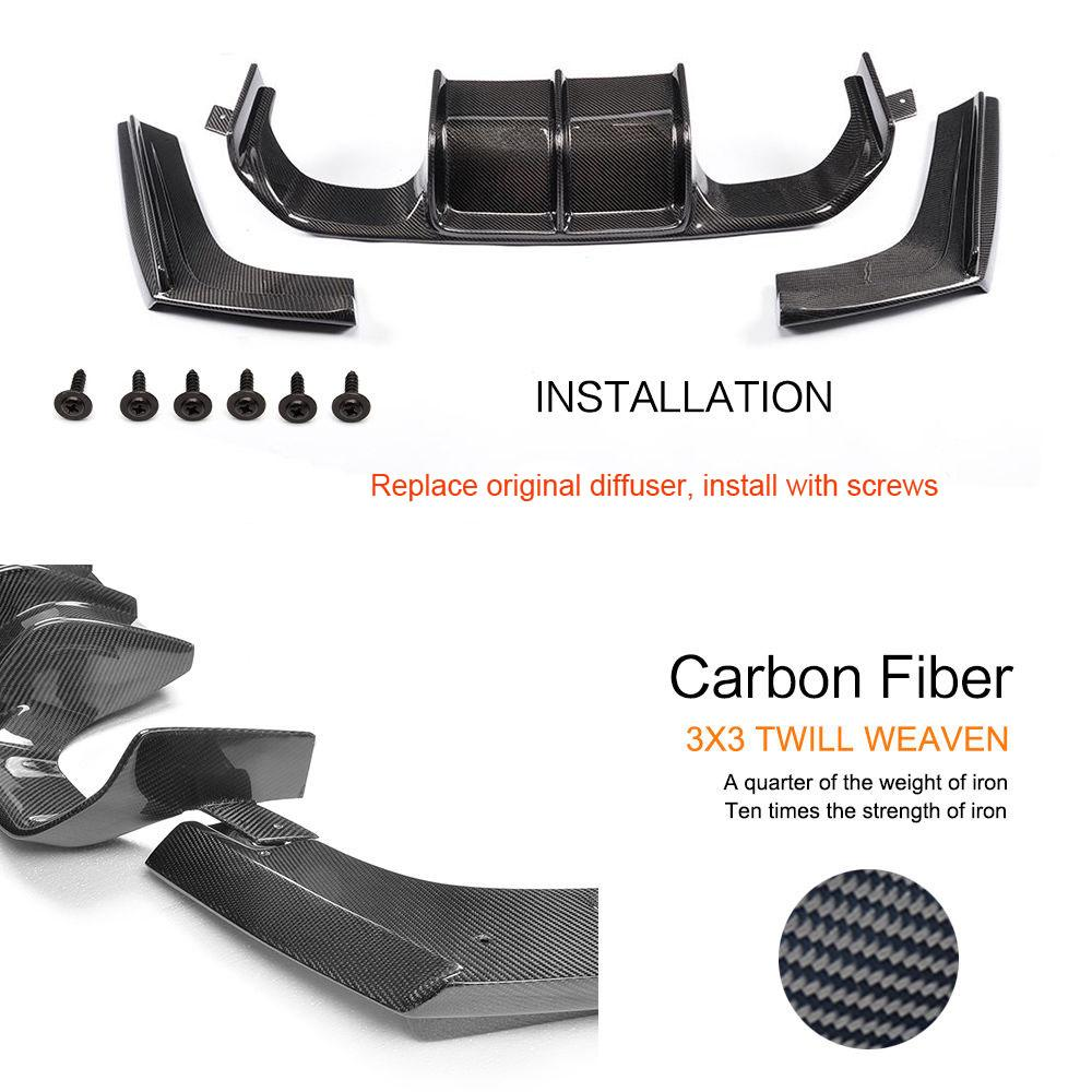 Diffuseur de lèvre de pare-chocs arrière en Fiber de carbone pour BMW F80 M3 & F82 M4 2015-2019 - 2