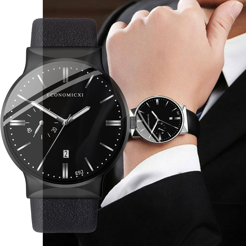 ECONOMICXI Brand Mens Watch Analog Quartz Casual Business Male Leather Strap WristWatch Clock Relogio Masculino Fashion Gift