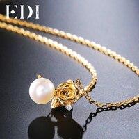EDI Rose Flower 7mm Natural Freshwater Pearls 925 Sterling Silver Female Pendant For Women