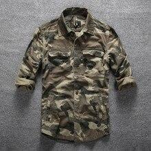 Мужская Уличная походная альпинистская Спортивная Военная рубашка весна осень хлопок камуфляж с длинным рукавом дышащая тактическая карго рубашка