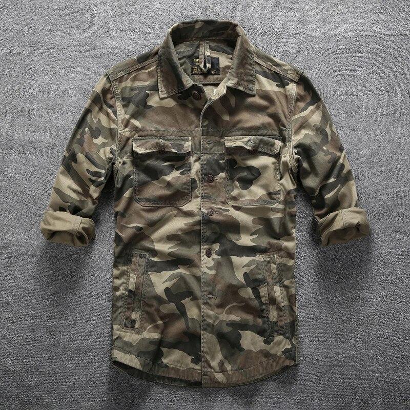 Hommes en plein air randonnée escalade Sports militaires chemises printemps automne coton Camouflage à manches longues respirant tactique Cargo chemise