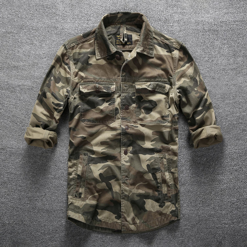 Mens Outdoor Hiking Climbing Sports Military Shirts Spring Autumn Cotton Camouflage Long Sleeve Breathable Tactical Cargo Shirt