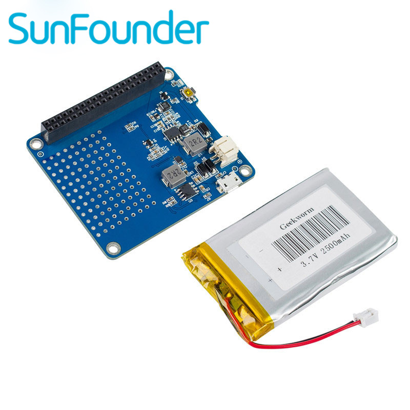 SunFounder Raspberry Pi UPS HAT Board for Raspberry Pi 3 Model B, 2 Model B and Model B+ with 2500mAh Lithium Battery lithium battery pack expansion board power supply with switch for raspberry pi 3 2 model b 1 model b banana pi without battery
