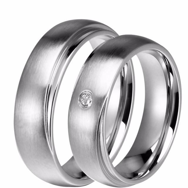 Mm Lovers Couples Titanium Stainless Steel Wedding Bands Him And Her Promised Engagement Ring Women With