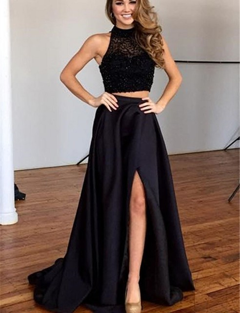 a9c09977e23b 2019 New Black Two Pieces A-line Prom Dresses Halter Beaded Top Satin Skirt  Teens