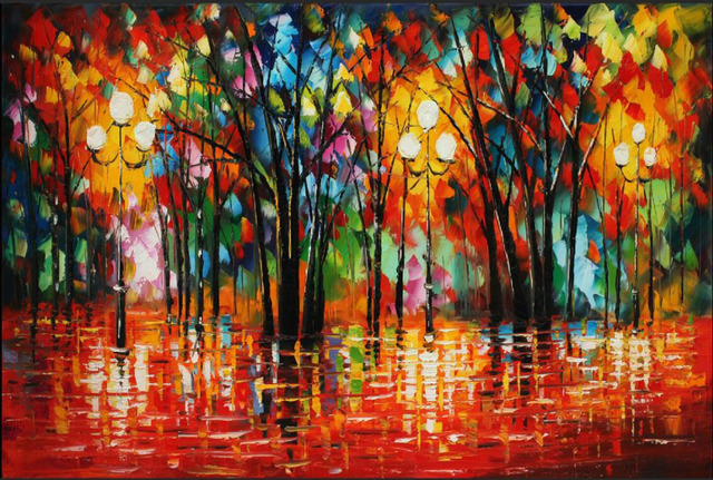 leonid afremov abstract raining day oil painting people and trees colorful art pictures for home wall