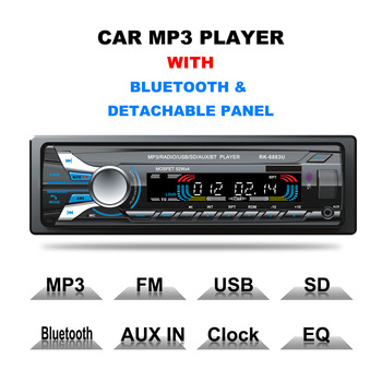 1 Din Universal Detachable Panel Car MP3 Player Bluetooth Card Plug-in Autoradio FM U Disk Auto Stereo MP3 Car Audio Player image