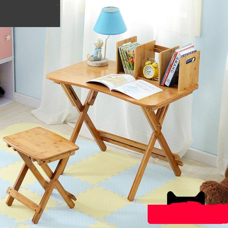 Çok fonksiyonlu basit çocuk masası kaldırabilir masa öğrenmek için katlanır masa ofis masası title=