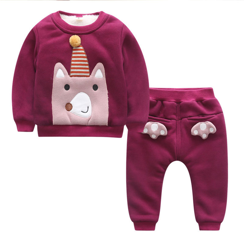 Winter Thick Plus Velvet Toddler Girls Clothing Sets 2017 New  Kids Tracksuits for Girls Warm Cartoon Baby Girl Clothes toddler girls hello kitty clothes set winter thick warm clothes plus velvet coat pants rabbi kids infant sport suits w133