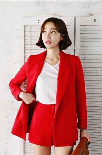 Et Femmes Veste 2018 Mode Était Nouvelle Tendance Shorts Deux Casual De Coréenne Costume Mince pièce Printemps 1 D'été Rouge Femme 43RjLA5