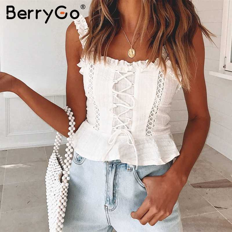 BerryGo Sexy lace women tank tops Strap ruffle white pleated crop top cotton female Summer hollow out lace up camisole tops 2019