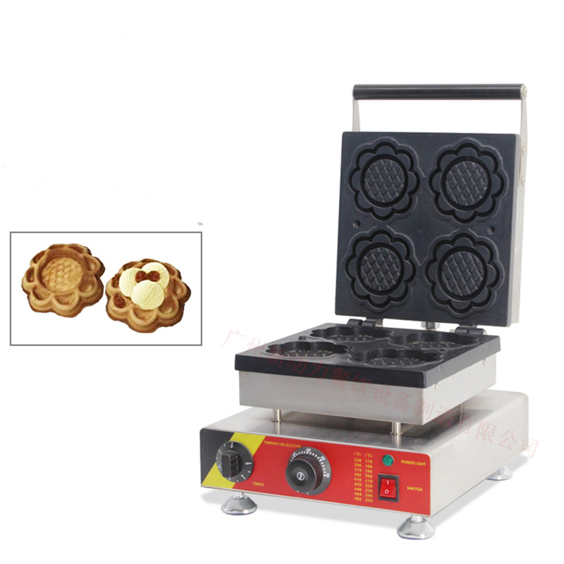 110/220V Commercial Non-stick Sunflower Shaped Waffle Maker Machine 4pcs Flower Waffle Baker Oven Ice Cream Cone sunflower shaped cake maker diy mould tray grey