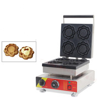 110/220V Commercial Non stick Sunflower Shaped Waffle Maker Machine 4pcs Flower Waffle Baker Oven Ice Cream Cone